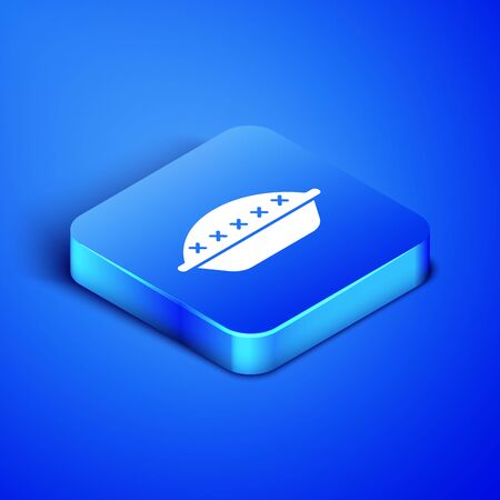 Isometric Homemade pie icon isolated on blue background. Blue square button. Vector Illustration