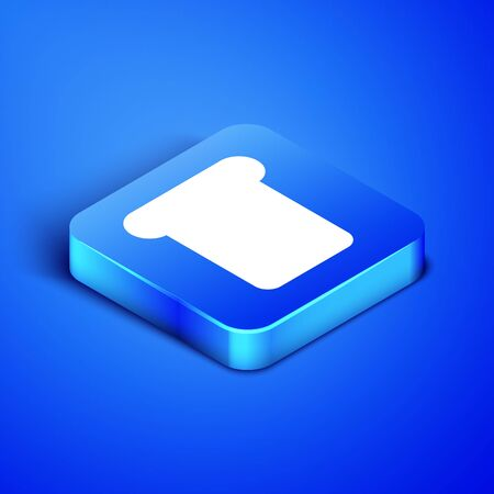 Isometric Bread toast for sandwich piece of roasted crouton icon isolated on blue background. Lunch, dinner, breakfast snack. Blue square button. Vector Illustration