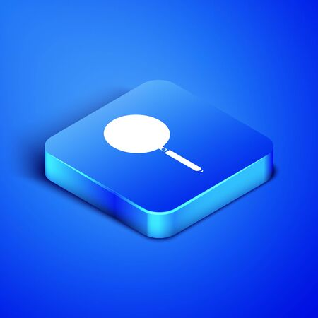 Isometric Frying pan icon isolated on blue background. Fry or roast food symbol. Blue square button. Vector Illustration Illustration