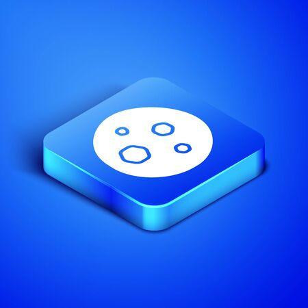 Isometric Cookie or biscuit with chocolate icon isolated on blue background. Blue square button. Vector Illustration