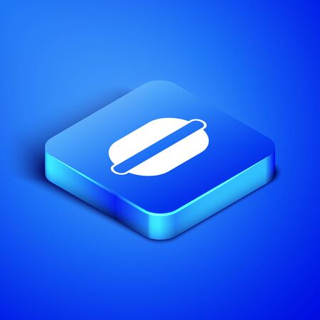 Isometric Macaron cookie icon isolated on blue background. Macaroon sweet bakery. Blue square button. Vector Illustration