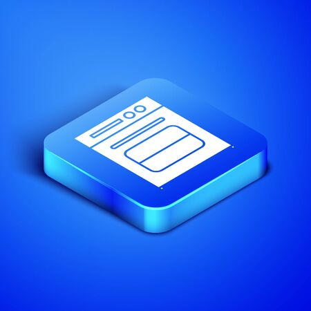 Isometric Oven icon isolated on blue background. Stove gas oven sign. Blue square button. Vector Illustration