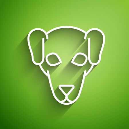 White line Hunting dog icon isolated on green background. Vector Illustration