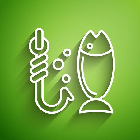 White line Fishing icon isolated on green background. Fish and hook. Strategy concept. Bait sign. Vector Illustration