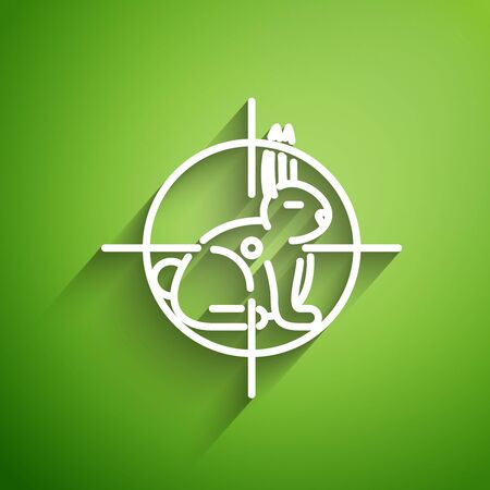 White line Hunt on rabbit with crosshairs icon isolated on green background. Hunting club with rabbit and target. Rifle lens aiming a hare. Vector Illustration