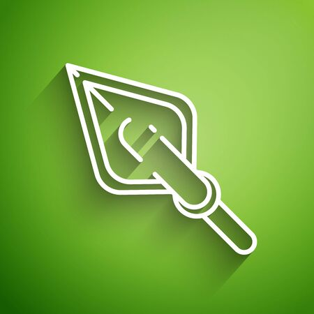 White line Hipster arrow tip icon isolated on green background. Vector Illustration