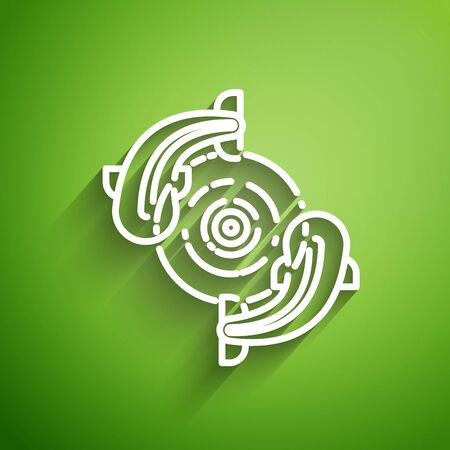 White line Fish icon isolated on green background. Vector Illustration Ilustracja