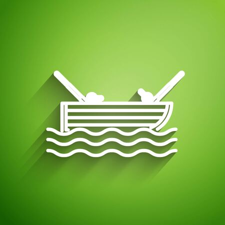 White line Fishing boat with fishing rod on water icon isolated on green background. Vector Illustration 版權商用圖片 - 131126517