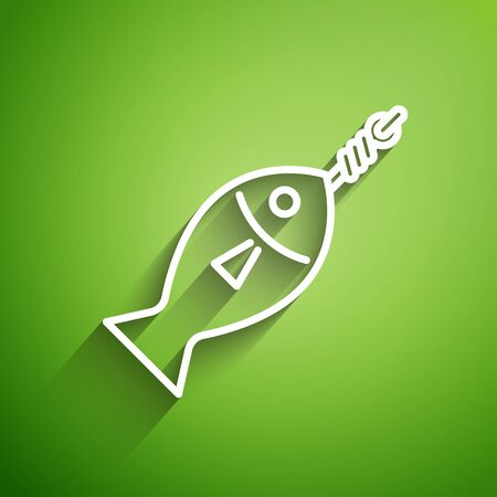 White line Fish on hook icon isolated on green background. Vector Illustration