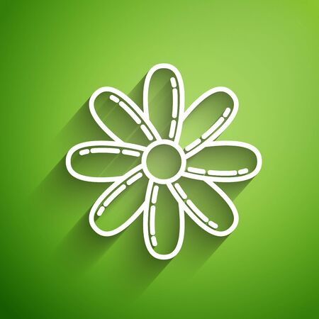 White line Flower icon isolated on green background. Sweet natural food. Vector Illustration Ilustração