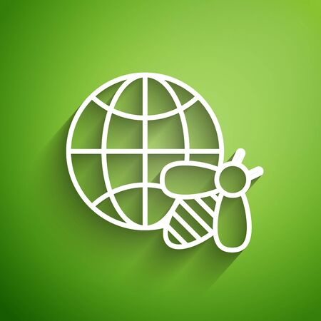 White line Honeycomb map of the world and bee icon isolated on green background. World bee day. Concept ecological event. Vector Illustration  イラスト・ベクター素材