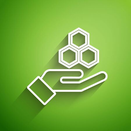 White line Honeycomb and hand icon isolated on green background. Honey cells symbol. Sweet natural food. Vector Illustration