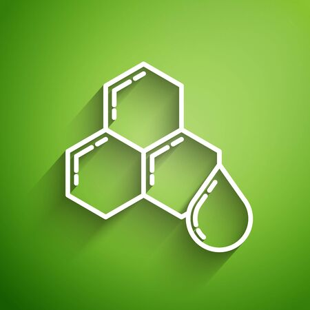 White line Honeycomb icon isolated on green background. Honey cells symbol. Sweet natural food. Vector Illustration