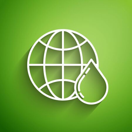 White line Honeycomb map of the world icon isolated on green background. World bee day. Concept ecological event. Vector Illustration