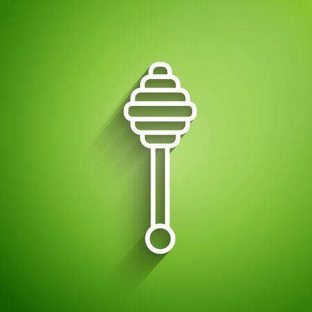 White line Honey dipper stick icon isolated on green background. Honey ladle. Vector Illustration