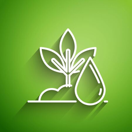 White line Watering plant icon isolated on green background. Seed and seedling. Irrigation symbol. Leaf nature. Vector Illustration