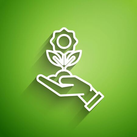 White line Hand holding flower icon isolated on green background. Seed and seedling. Planting sapling. Ecology concept. Vector Illustration
