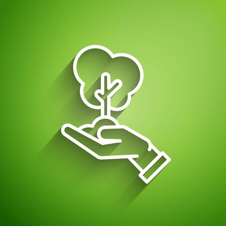 White line Tree in hand of environmental protection icon isolated on green background. Seed and seedling. Planting sapling. Ecology concept. Vector Illustration