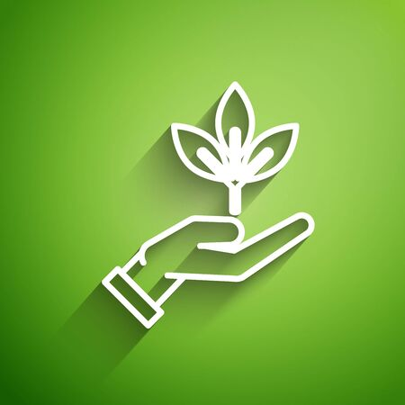 White line Plant in hand of environmental protection icon isolated on green background. Seed and seedling. Planting sapling. Ecology concept. Vector Illustration