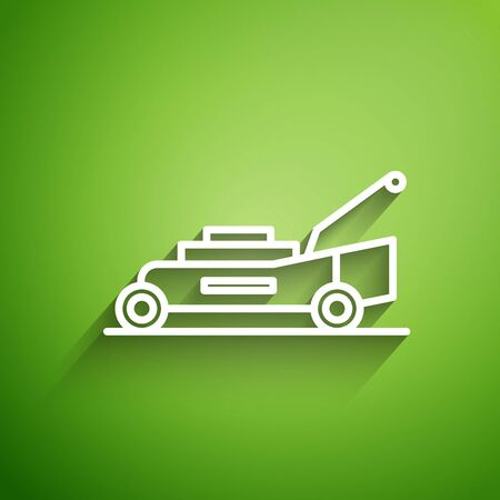 White line Lawn mower icon isolated on green background. Lawn mower cutting grass. Vector Illustration