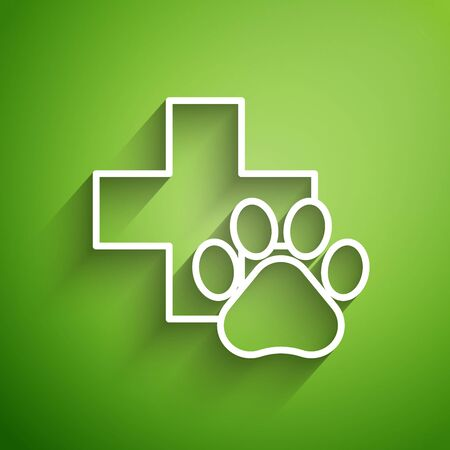 White line Veterinary clinic symbol icon isolated on green background. Cross hospital sign. A stylized paw print dog or cat. Pet First Aid sign. Vector Illustration Reklamní fotografie - 131138953