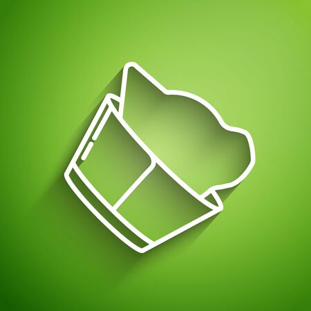 White line Veterinary clinic symbol icon isolated on green background. Cat veterinary care. Pet First Aid sign. Vector Illustration Reklamní fotografie - 131138951