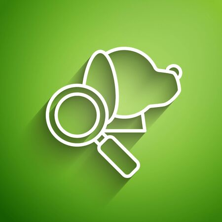 White line Veterinary clinic symbol icon isolated on green background. Magnifying glass with dog veterinary care. Pet First Aid sign. Vector Illustration Ilustrace