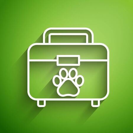 White line Pet first aid kit icon isolated on green background. Dog or cat paw print. Clinic box. Vector Illustration