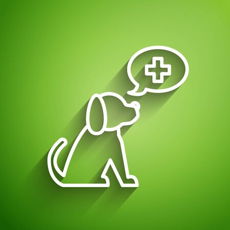 White line Veterinary clinic symbol icon isolated on green background. Cross with dog veterinary care. Pet First Aid sign. Vector Illustration