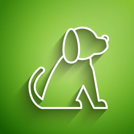 White line Dog icon isolated on green background. Vector Illustration