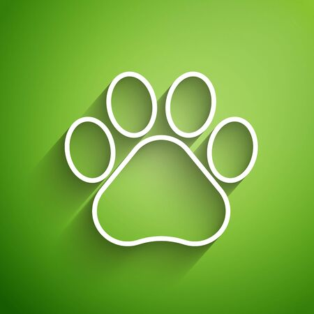 White line Paw print icon isolated on green background. Dog or cat paw print. Animal track. Vector Illustration 向量圖像