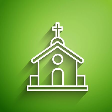 White line Church building icon isolated on green background. Christian Church. Religion of church. Vector Illustration