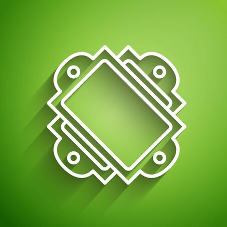 White line Ticket icon isolated on green background. Amusement park. Vector Illustration