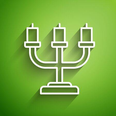 White line Candlestick icon isolated on green background. Vector Illustration Ilustracja