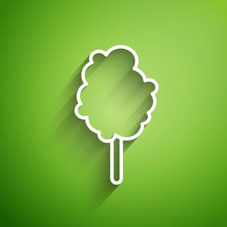 White line Cotton candy icon isolated on green background. Vector Illustration Illustration