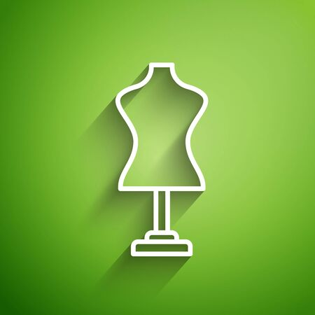 White line Mannequin icon isolated on green background. Tailor dummy. Vector Illustration Illustration