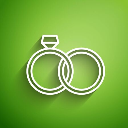 White line Wedding rings icon isolated on green background. Bride and groom jewelery sign. Marriage icon. Diamond ring icon. Vector Illustration