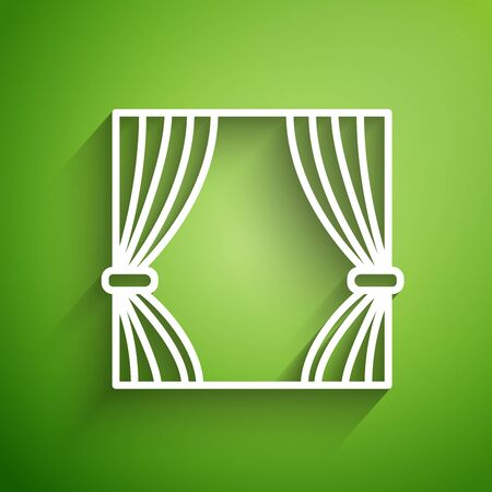 White line Curtain icon isolated on green background. For theater scene backdrop, concert grand opening or cinema premiere. Vector Illustration