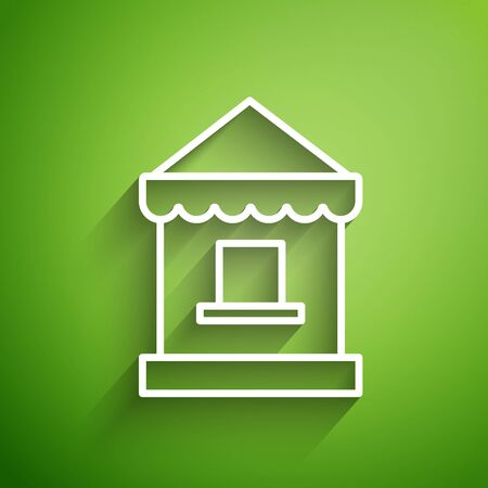 White line Ticket box office icon isolated on green background. Ticket booth for the sale of tickets for attractions and sports. Vector Illustration