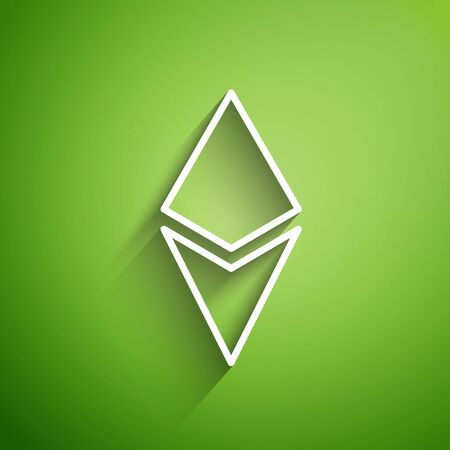 White line Cryptocurrency coin Ethereum ETH icon isolated on green background. Altcoin symbol. Blockchain based secure crypto currency. Vector Illustration