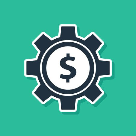 Blue Gear with dollar symbol icon isolated on green background. Business and finance conceptual icon. Vector Illustration