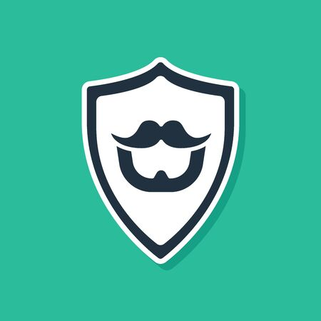 Blue Mustache and beard on shield icon isolated on green background. Barbershop symbol. Facial hair style. Vector Illustration