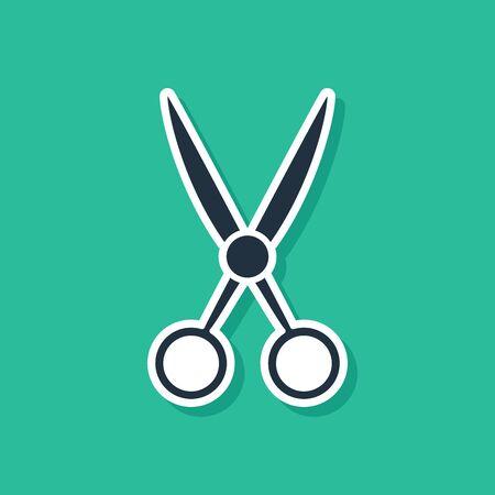 Blue Scissors hairdresser icon isolated on green background. Hairdresser, fashion salon and barber sign. Barbershop symbol. Vector Illustration