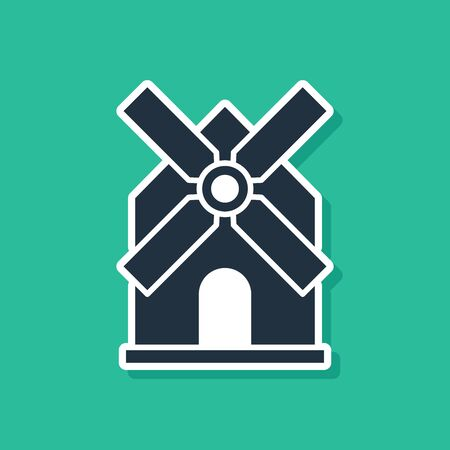 Blue Windmill icon isolated on green background. Vector Illustration