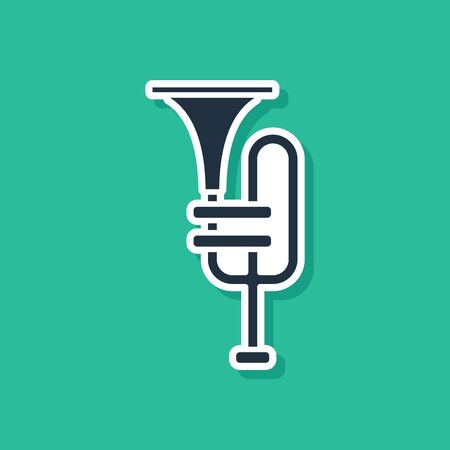 Blue Musical instrument trumpet icon isolated on green background. Vector Illustration Stock Illustratie