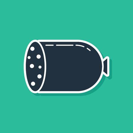 Blue Salami sausage icon isolated on green background. Meat delicatessen product. Vector Illustration Ilustração