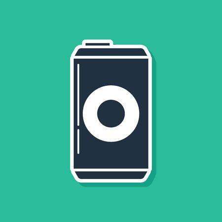Blue Beer can icon isolated on green background. Vector Illustration