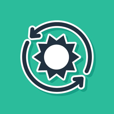 Blue Solar energy panel icon isolated on green background. Sun with lightning symbol. Vector Illustration
