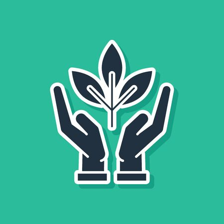 Blue Plant in hand of environmental protection icon isolated on green background. Seed and seedling. Planting sapling. Ecology concept. Vector Illustration