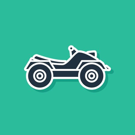 Blue All Terrain Vehicle or ATV motorcycle icon isolated on green background. Quad bike. Extreme sport. Vector Illustration